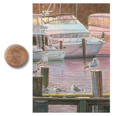 boat and seagull painting by wes siegrist