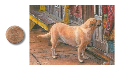 Yellow Lab dog painting by Rachelle Siegrist