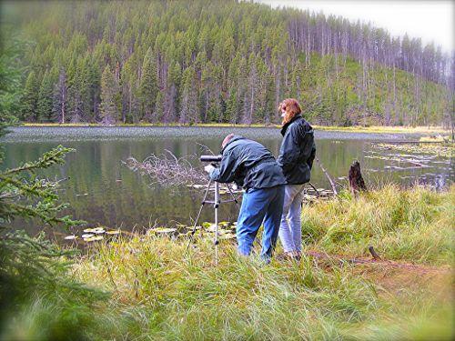 Wes and Rachelle Siegrist birdwatch in Yellowstone