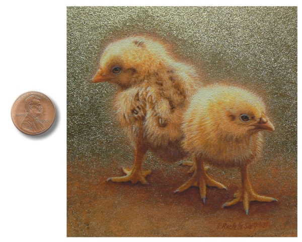 Baby chicken, chick painting by Rachelle Siegrist