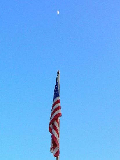 AMERICAN flag with moon