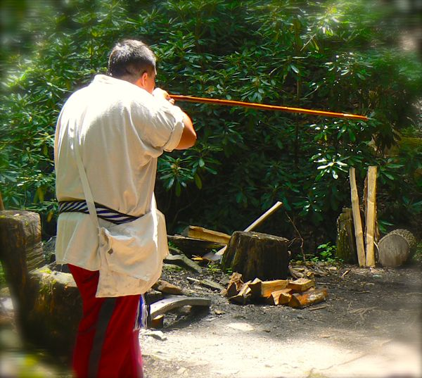 blowgun demonstration at the cherokee indian village