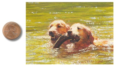 Bosom Buddies painting by Wes & Rachelle Siegrist. Painting of Golden Retrievers.