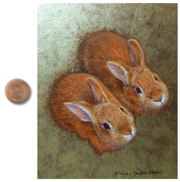 Bunny Slippers painting by Wes & Rachelle Siegrist. Painting of Rabbits.