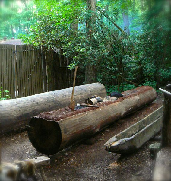 canoe building demonstration at the cherokee indian village