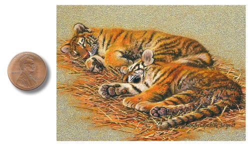Cozy Cubs painting by Wes & Rachelle Siegrist. Painting of Bengal Tiger Cubs.