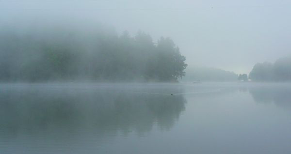 early morning on lake glenville in cashiers