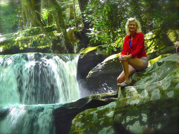 Rachelle siegrist by falls along middle prong trail