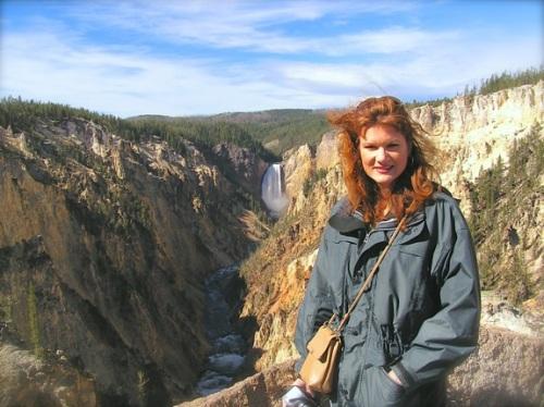 Rachelle Siegrist at Yellowstone Falls