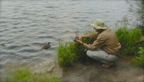 wes siegrist photographing ducks at spraguelake