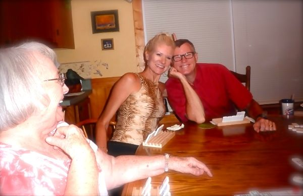 rachelle and wes siegrist playing mexican train dominoes