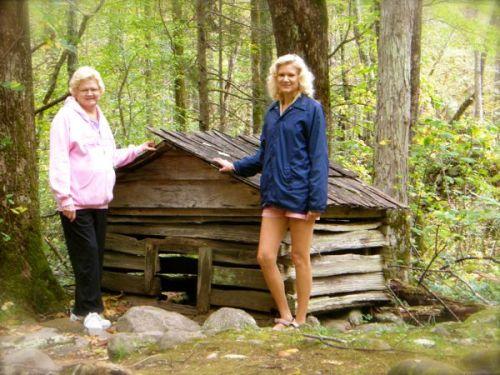 rachelle siegrist with cabin in roaring fork motor trail