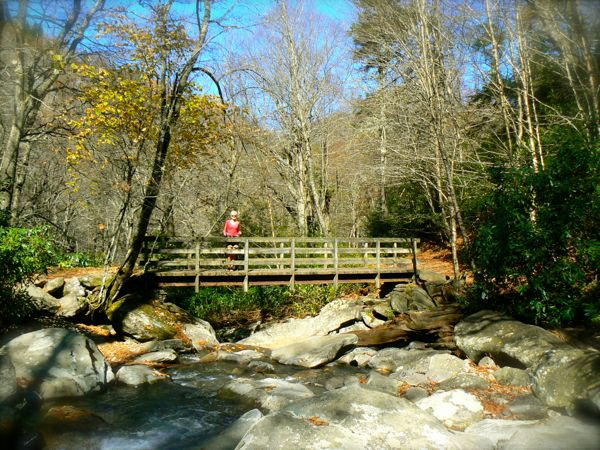 new bridge on chimney tops trail