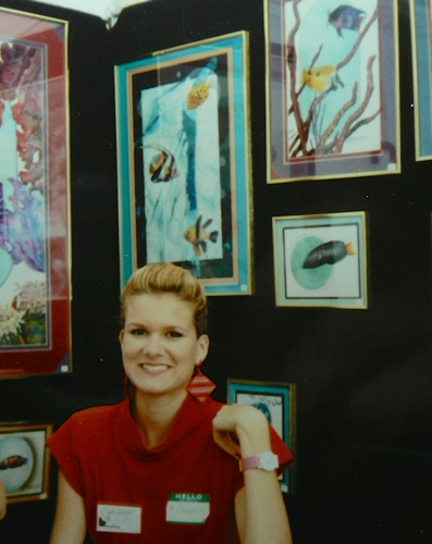 Rachelle Siegrist with her fish paintings in 1990