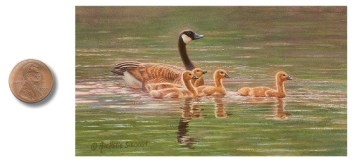 Canada Geese with babies painting by_Rachelle_Siegrist