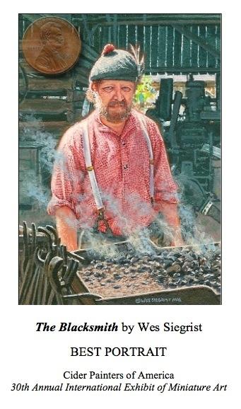 The Blacksmith  portrait painting by Wes Siegrist, Best Portrait CPA