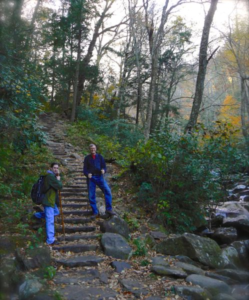 wes siegrist and kit gentry on chimney tops trail
