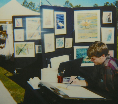 Wes Siegrist painting in Naples, FL in 1988