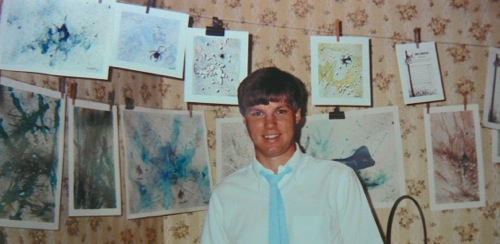 Wes Siegrist with paintings in 1987