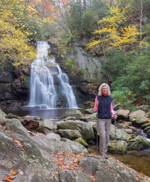 rachelle siegrist at spruce flats falls in autumn