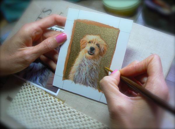 rachelle siegrist painting a dog portrait
