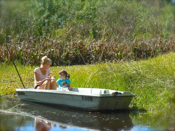 rachelle siegrist having a boat picnic