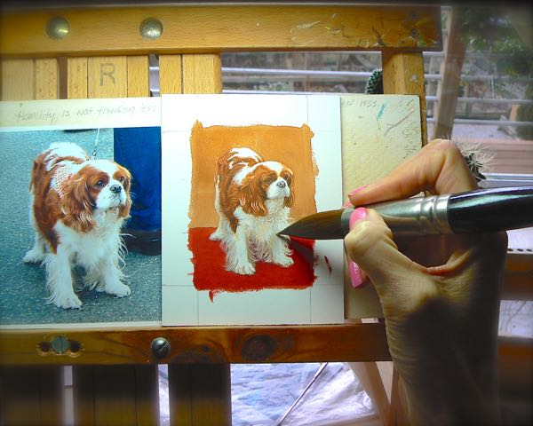 rachelle siegrist painting a  king charles spaniel