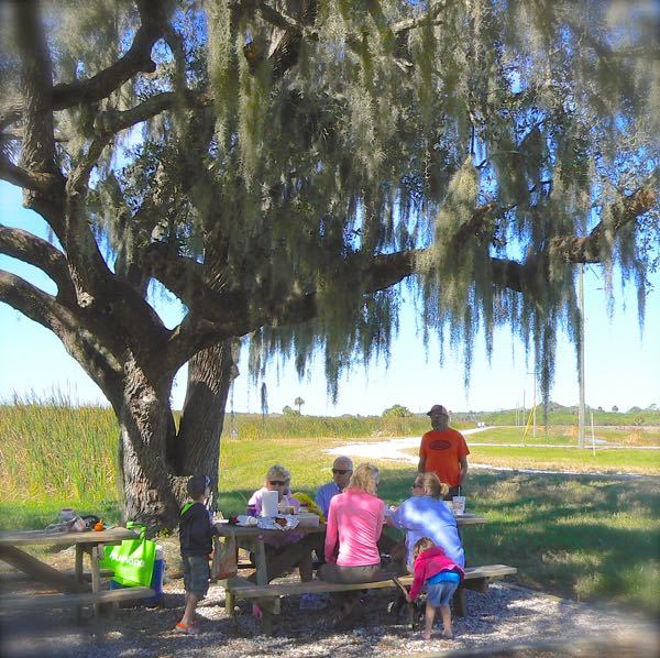 rachelle siegrist picnicing at Taylor Creek Stormwater Treatment Area