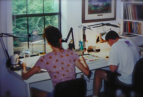 Wes and Rachelle Siegrist in their studio c. 2001