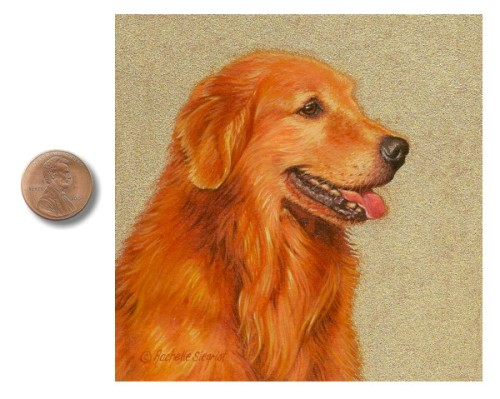 Golden Retriever painting miniature by Rachelle Siegrist