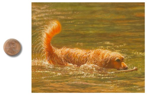 golden retriever sporting dog painting by rachelle siegrist