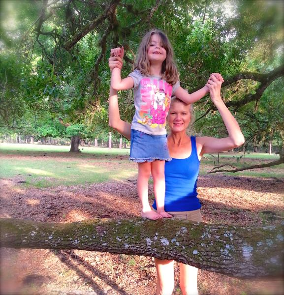 rachelle siegrist and haydyn climbing trees