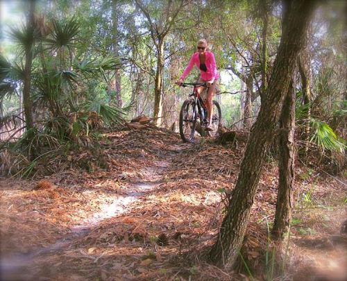 rachelle sirgrist riding at grassy island trail in spring