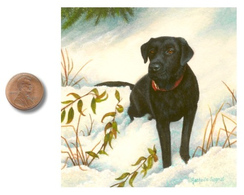 black lab sporting dog painting by Rachelle Siegrist