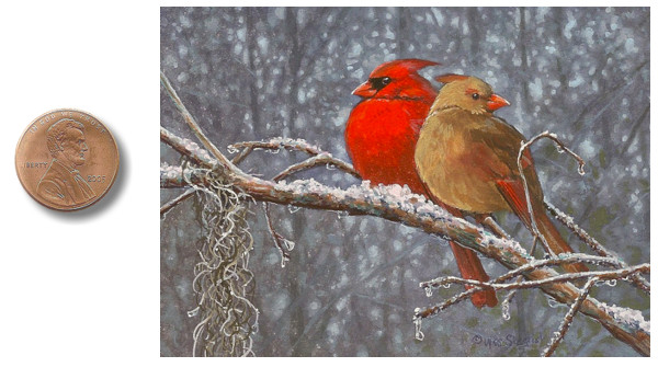 male and female  cardinal painting_by_Wes_Siegrist