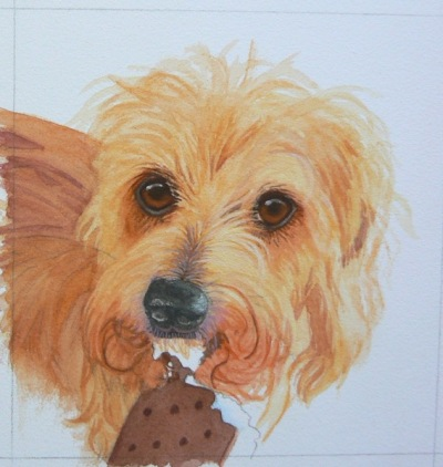 wire haired dachsund painting in progress