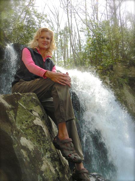 Rachelle Siegrist on top of spruce flat falls