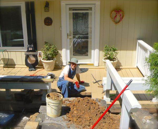 wes siegrist working on porch