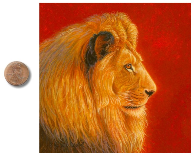 Male African Lion painting by Rachelle Siegrist