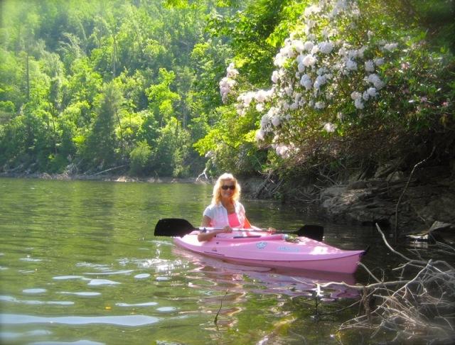 Rachelle Siegrist in her kayak