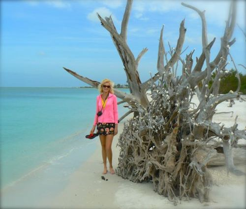 rachelle siegrist with shell tree at Lovers Key state park