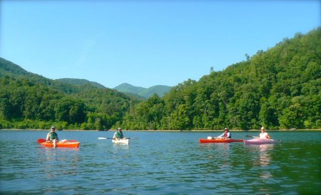 kayaking in chilhowee lake in june