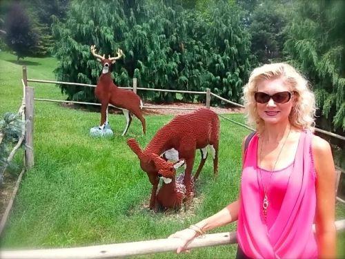 Rachelle with lego deer at louisvilel zoo