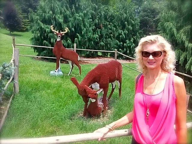Rachelle with lego deer at louisvilel zoo
