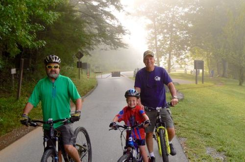 davis family riding bikes in cades cove - 1