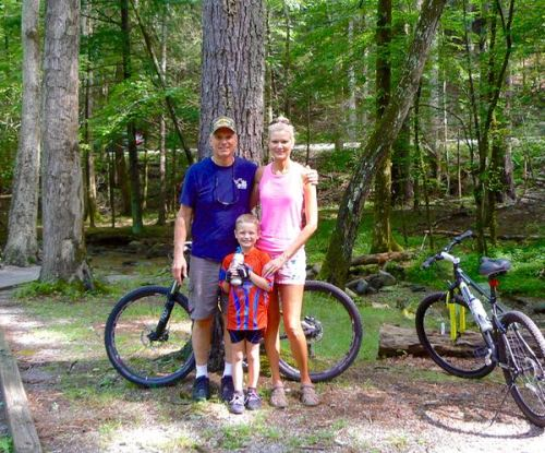rachelle siegrist riding bikes in cades cove in july - 1