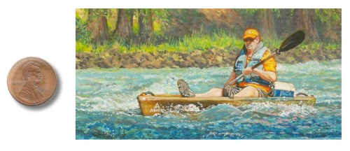 Miniature painting of a kayaker by Wes Siegrist