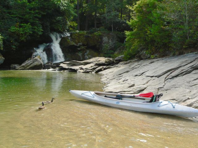kayaking by waterfalls on lake glenville - 1