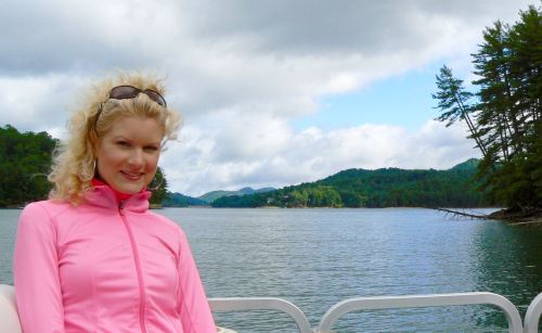 rachelle siegrist boating on lake glenville cashiers NC - 1