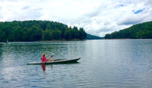 rachelle siegrist kayaking on lake glenville in summer - 1